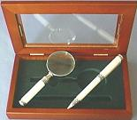 White Celluloid Magnifier/Pen Set