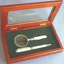 Magnifier/Pen Gift Set With White Celluloid Stems