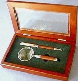 Magnifier/Pen Gift Set With Rosewood Stems